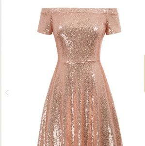 Rose gold short dress with sequence
